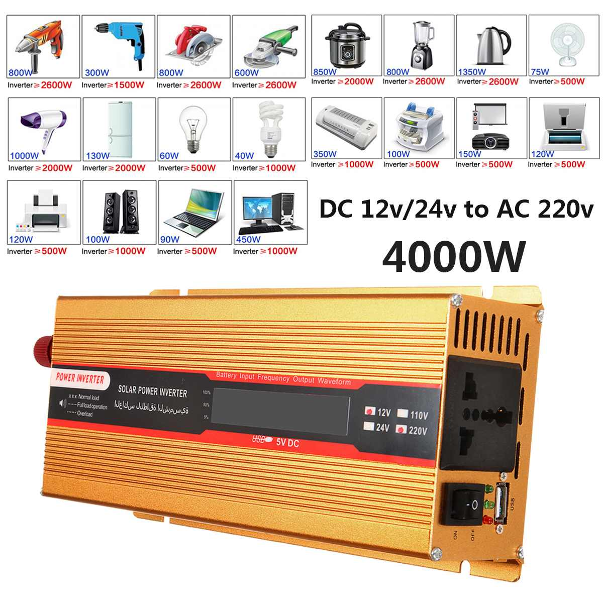 4000W Car Solar Inverter Power Inverter 12/24V To AC 220 USB Adapter Modified Sine Wave Converter for Car Camping Travaling
