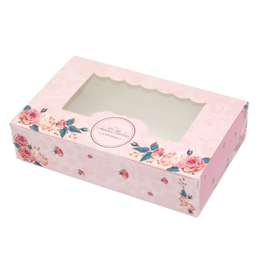 10 Pcs Gift Box Rose Cookies Paper Candy Wedding Cute With Window Cupcake Foldable Packaging Easy Assemble Multi Purpose Party