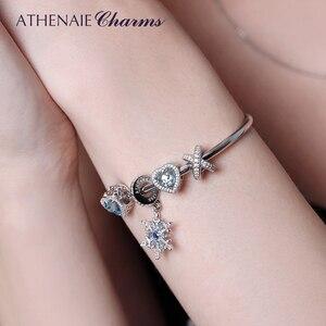Image 2 - Athenaie 925 prata esterlina com clara cz galaxy cruz anel talão encantos para feminino encantos pulseira caber presentes da menina do dia dos namorados