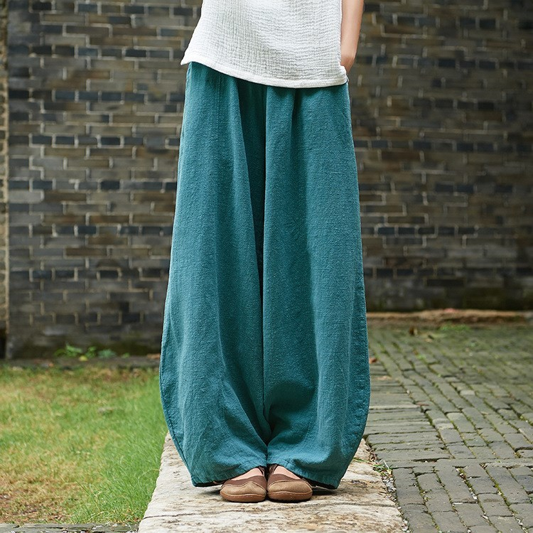 Autumn Solid Pockets Loose   Pants   Mid Women Vintage Elastic Waist Cotton Linen Harem   Pants