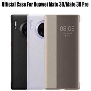 Para huawei companheiro 30/30 pro caso oficial original inteligente vista chamada id couro do plutônio flip capa para mate30 hm31