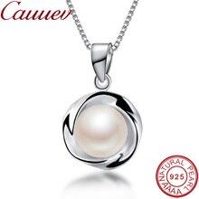 Ожерелье из серебра 925 пробы, Подвеска для женщин, настоящая АААА, высокое качество, подвеска из натурального пресноводного жемчуга, jewelry8-9mm