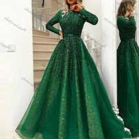 Vestidos de Noche verdes musulmanes, línea A, tul mangas largas, encaje con cuentas islámico de Dubái, vestido largo Formal de Arabia Saudí