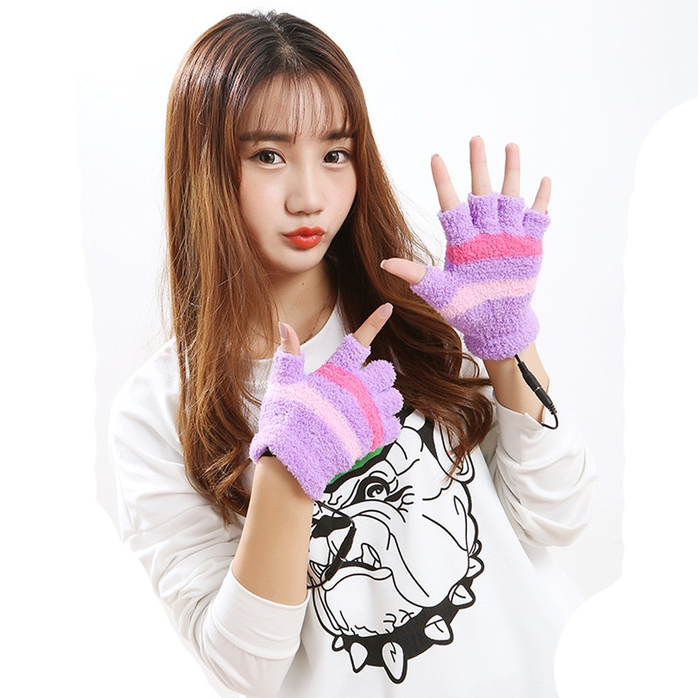 Women's Fingerless Gloves Usb Heating Winter Hand Warm Gloves Heated Warmer Mitten Fashion Usb Golves 2021(including Data Cable)