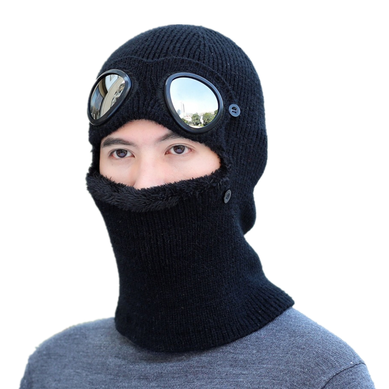 Balaclava Neck Warmer Knitted Hat Glasses Windproof Cold Mask Beanies Winter Hat Men Women Cap Skullies Bonnet Ski Riding Hats