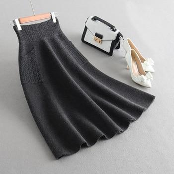 Sherhure 2019 High Waist Women Winter Wool Knitting Long Skirts Faldas Jupe Femme Saia Vintage Women Black Skirt With Pocket 6