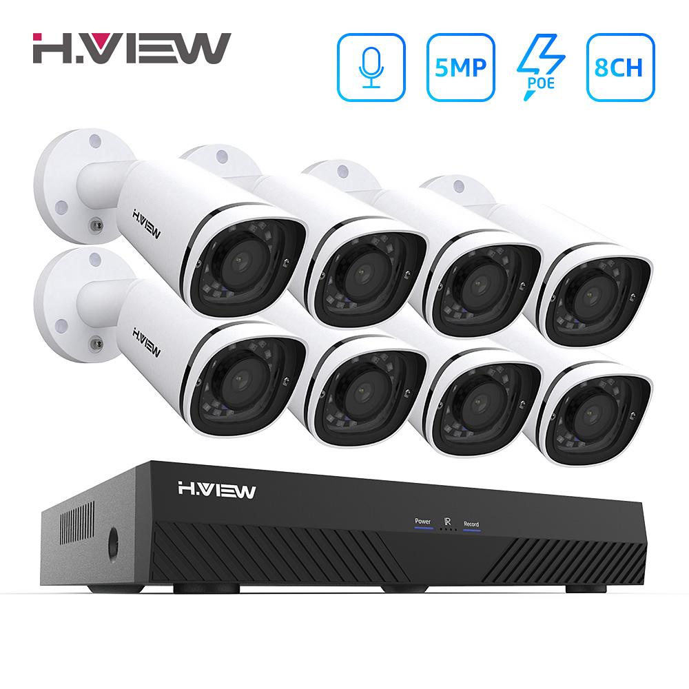 H. VIEW 5MP PoE Video Camera Kit de Vigilância de Vídeo Sistema de Kit de Vigilância CCTV IP Câmera de Segurança IP Exterior PoE 5MP