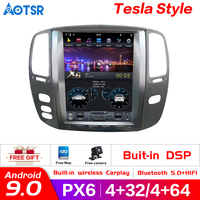 Tesla style Android 9.0 Car multimedia DVD player for Toyota Land cruiser 100 LC 100 2003 2007 for Lexus LX470 car radio stereo