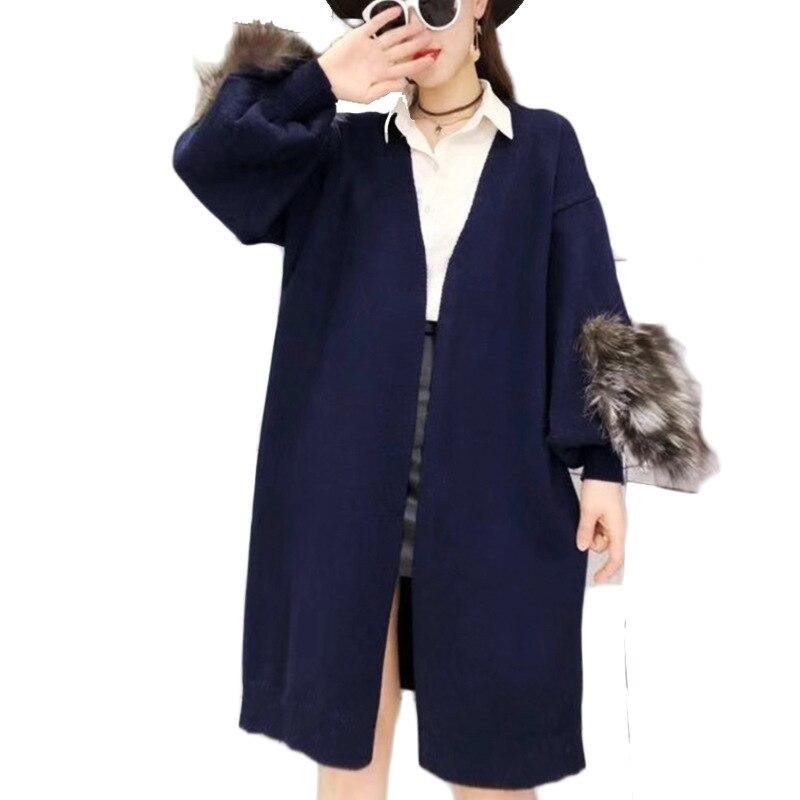 Réel renard fourrure décontracté tricoté long cardigan femme lâche cardigan tricoté pull chaud hiver pull femmes cardigan grande taille manteau