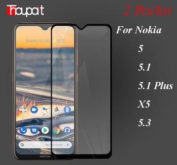 Перейти на Алиэкспресс и купить Закаленное стекло с полным клеем на Nokia 5,1 Plus C2 5 X5 Nokia5 защитная пленка стекло для Nokia 5,3 крышка дисплея 5D