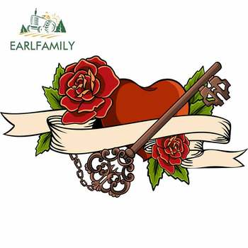 EARLFAMILY 13cm x 7.5cm for Heart Entwined In Climbing Rose Tattoo Heart Vector DIY Motorcycle Stickers Waterproof Car Decal image