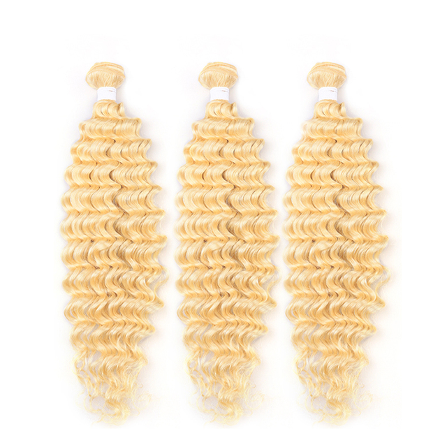 613 Blonde Deep Wave Bundles With Closure 4×4 KEMY HAIR Honey Blonde Brazilian Hair Weave Bundles With Closure 3PCS Remy Hair