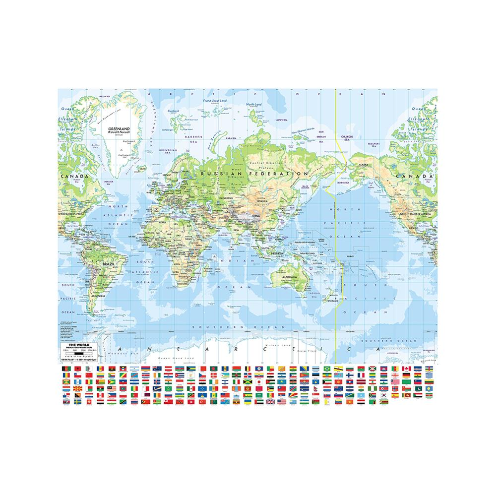 90x90cm Mercator Projection World Map Nonwoven Printing World Map With National Flag For Education
