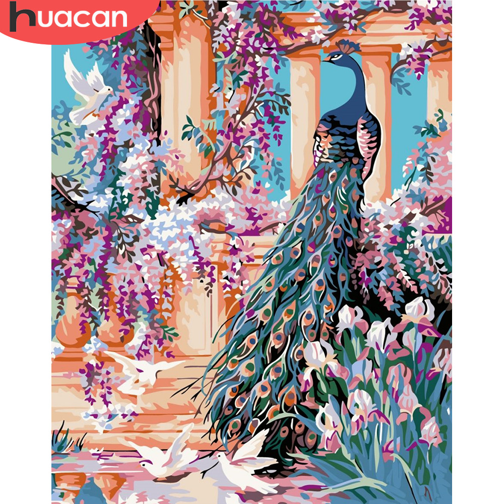 HUACAN Painting By Numbers Peacock Animals HandPainted Kits Drawing Canvas DIY Oil Pictures By Numbers Flower Home Decor Gift