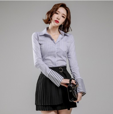 WOMEN'S Dress 2019 Autumn Clothing New Products Korean-style Elegant Stripes Slimming Shirt + Pleated Skirt Two-Piece Set