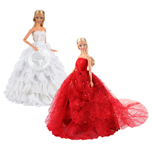 Newest high quanity handmade Red white doll wedding dress long tail party evening clothes for barbie doll dressing best DIY gift handmade pure white wedding gown with sequin copy pearl beads gorgeous dress limited edition clothes for barbie doll kurhn fr