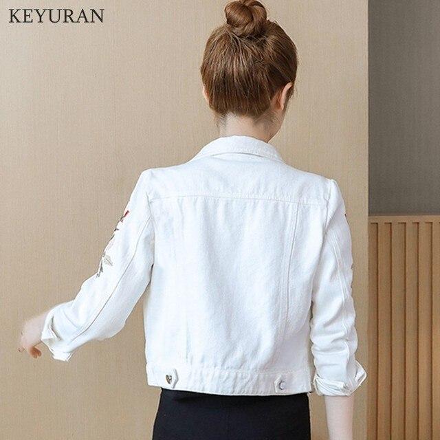Korean Slim White Red Denim Jacket Women Embroidered Long Sleeve Coat Female Spring Cropped Jean Jackets Plus Size Manteau Femme 6