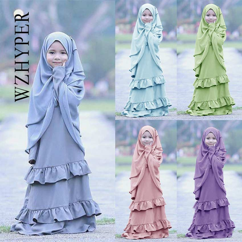 Muslim Girl Two Piece Dress And Hijab Kids Abaya Ruffled Islamic Arab Clothing Cute Kaftan Hijab Dress Holiday Solid Color Robe