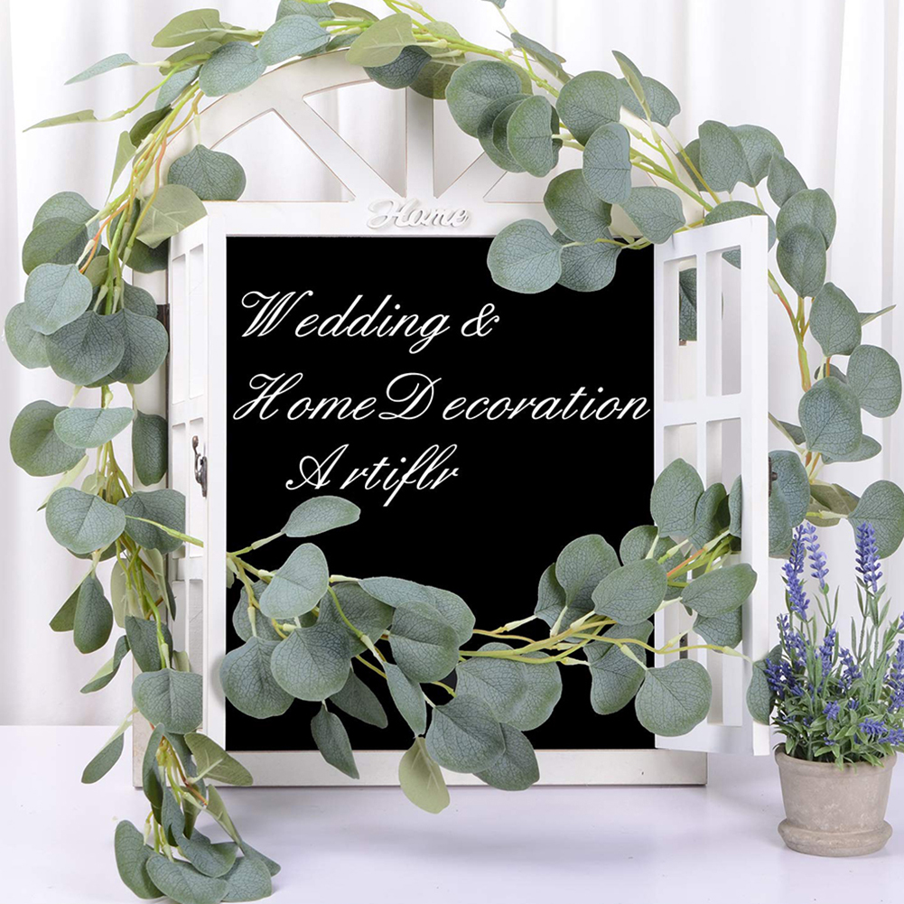200cm Artificial Fake Eucalyptus Garland Long Leaf Plants Vine Greenery Foliage Table Home Decor Wedding Party Decoration