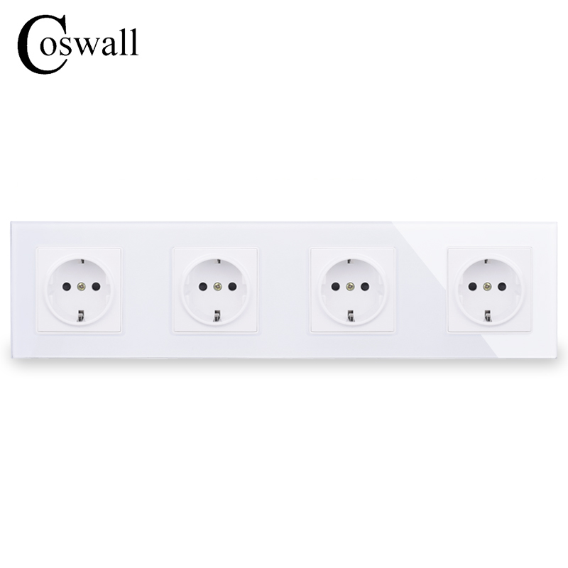 COSWALL Wall Crystal Glass Panel 4 Gang Power Socket Grounded 16A EU Standard Quadruple Outlet With Children Protection Door
