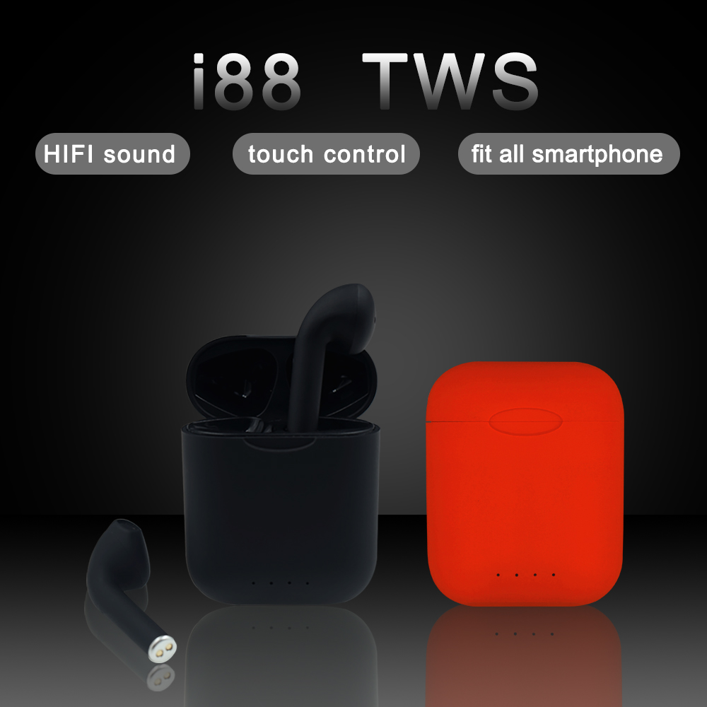 Original Matte I88 TWS Earphones Bluetooth Wireless Headset Touch Control Wireless Earbuds With Microphone Bluetooth Earphone