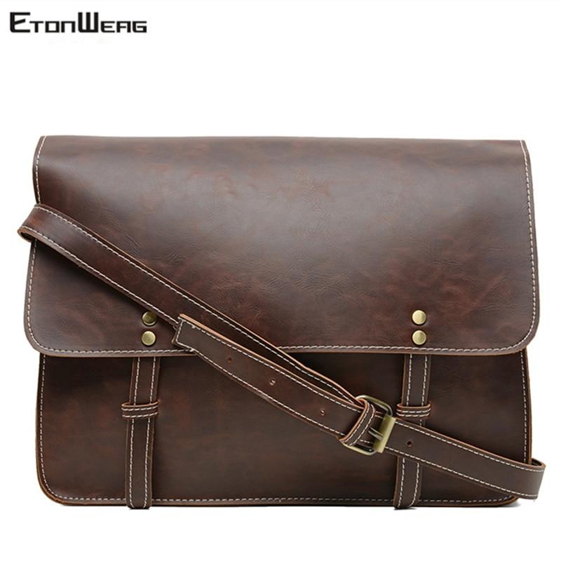 Men's Vintage Designer Briefcase Brand PU Leather Shoulder Bag Business Office Man Messenger Bag Casual Laptop Crossbody Bags