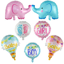 1pc Blue Pink Elephant Baby Shower Foil Balloons Boy Girl Gender Reveal Birthday Party Baby Shower Decoration Supplies baby shower balloons blue pink boy girl foil ballons kids gender reveal first 1st birthday party kids party decorations supplies