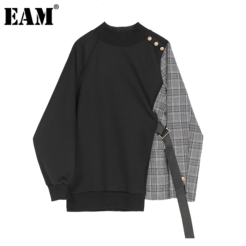 [EAM] Loose Black Plaid Ribbon Irregular Sweatshirt New Round Neck Long Sleeve Women Big Size Fashion Spring Autumn 2020 1Z261 1