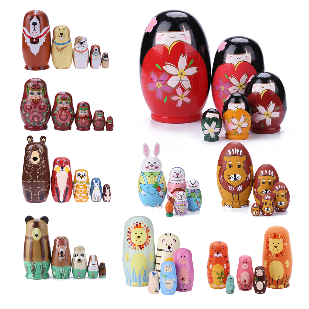 5PCS/Set Lovely Matryoshka Wooden Dolls Nesting Dolls Russian Hand Paint For Kids Christmas Toys Gifts Dolls For Kids