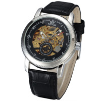 Sewor SS Case Leather Strap Automatic Men's Watch