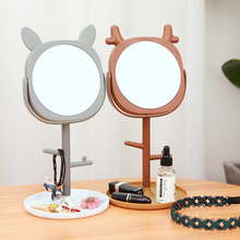 Cute Makeup Mirror Desktop Princess with Storage Portable Creative Multifunctional Tools Dressing Table Decoration