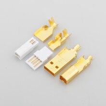 Hi End מצופה זהב USB מחבר USB + USB B סוג A B תקע עבור DIY USB כבל טייוואן עשה