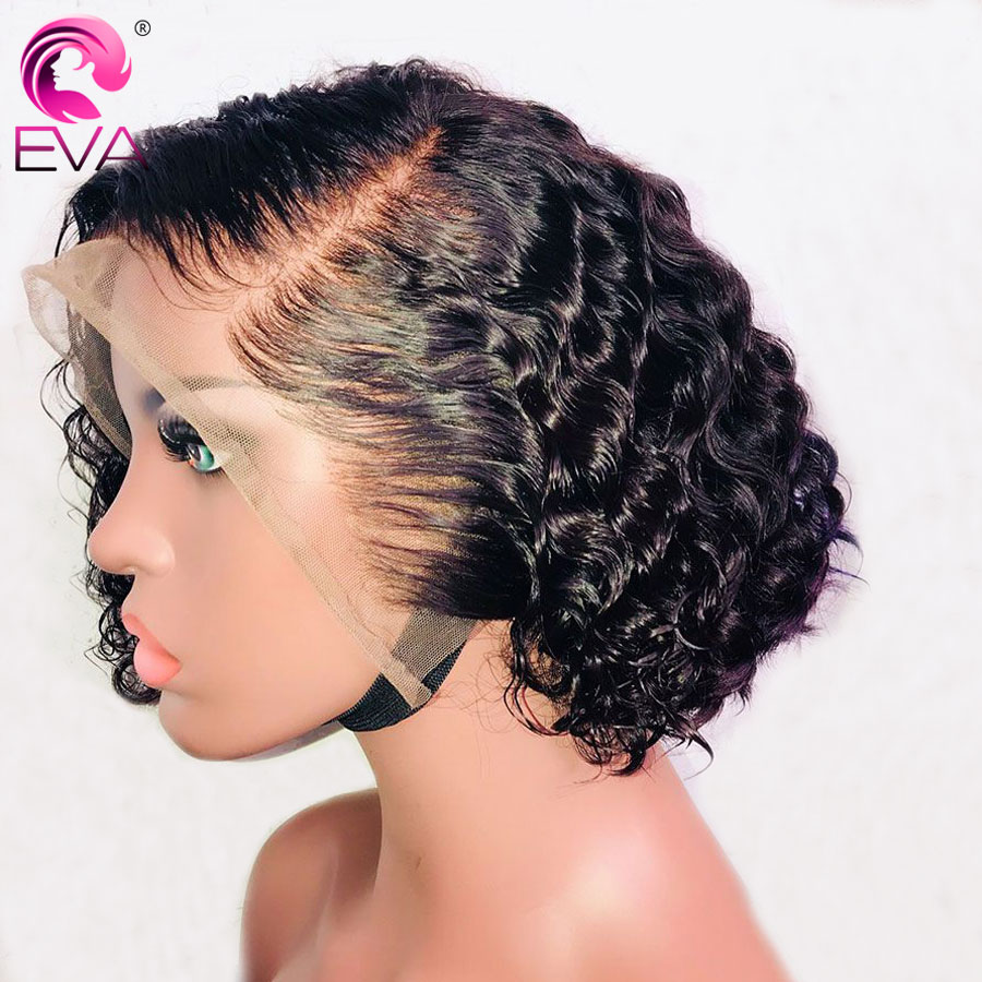 Eva Hair Short Curly Lace Front Human Hair Wigs Pre Plucked With Baby Hair Glueless Lace Front Bob Wigs Brazilian Remy Hair Wigs