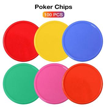 100Pcs Plastic Poker Chip No Digital Denomination Chip Printing For Gaming Tokens Plastic Coins Blank Poker Chips Tags/Lables image