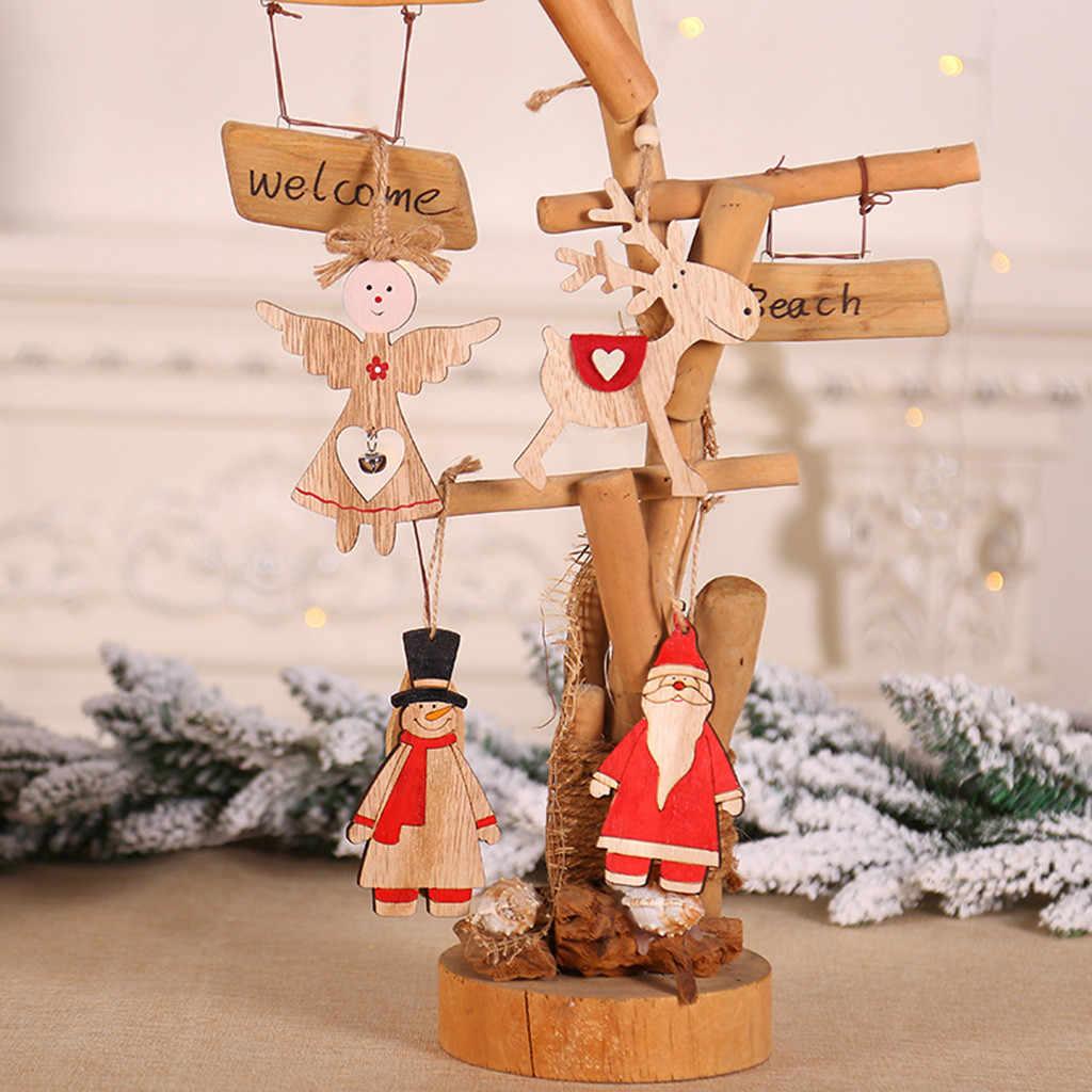 木製クリスマス天使のペンダントクリスマスツリー木製老人天使ヘラジカ雪だるま飾りペンダントホームホリデー木の装飾