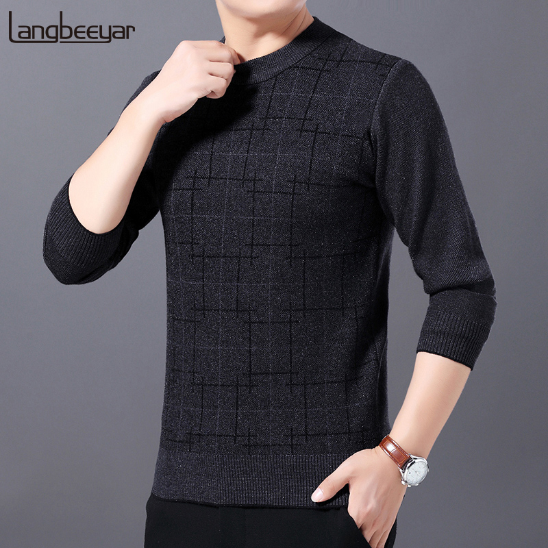2019 New Fashion Brand Thick Sweater For Mens Pullover O-Neck Slim Fit Jumpers Knitting Winter Korean Style Casual Clothing Male