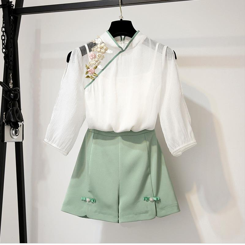 ICHOIX Embroidery Blouse Women 2 Piece Set Elegant Tops And Shorts Set Spring Summer 2 Piece Outfits Chinese Style Set
