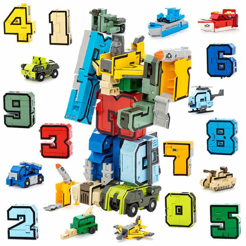 Transformacja liczba Robot figurki miasto kreatywne cegły deformacji lego klocki wczesne zabawki edukacyjne dla dzieci