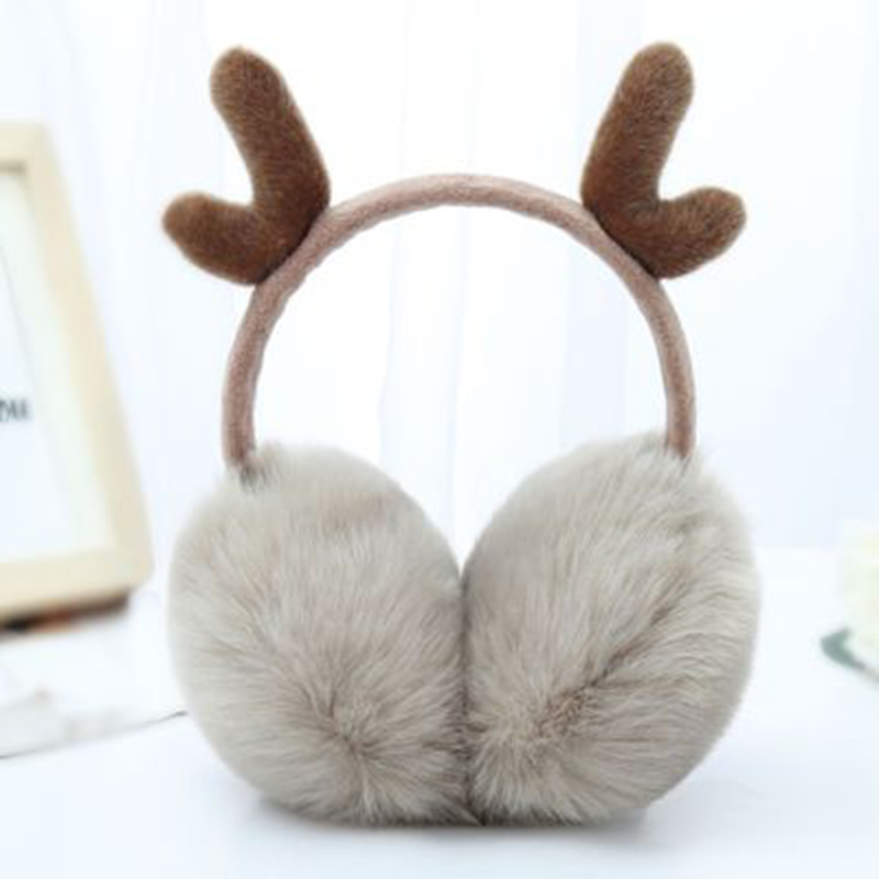 Brand New 2020 Fashion Women Girl Fur Winter Ear Warmer Earmuffs Cute Plush Antlers Ears Earmuffs Headband Newest