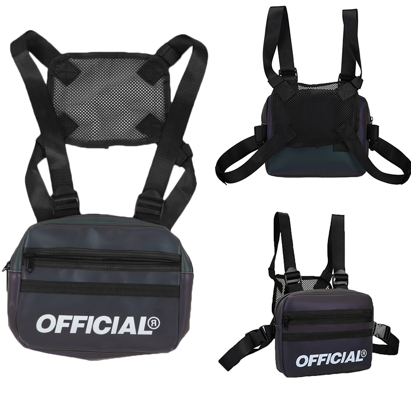 Sports Bags Street Style Reflective Chest Bag Multi-function Vest Chest Rig Bag Hip-Hop Waist Backpacks For Unisex Q1