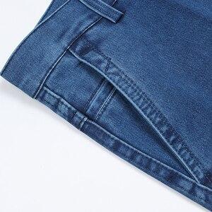 Image 5 - Artı boyutu 30 42 erkekler kaliteli Denim kumaş kot Homme yüksek bel streç düz katı pantolon erkek klasik eğlence pantolon