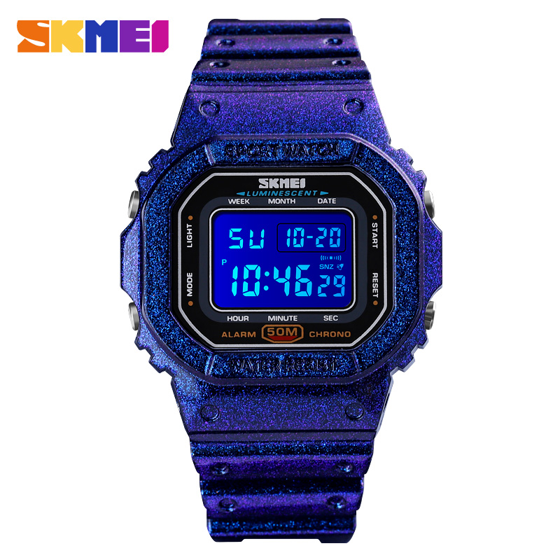 2020 SKMEI LED Light Men Digital Wristwatches Chronograph Alarm Sports Watches 5Bar Waterproof Male Clock Relogio Masculino 1608