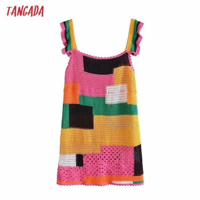 Tangada Women's Summer Dress Fashion Patchwork Crochet Dresses Ruffles Female Casual Beach Dress 3H771 6