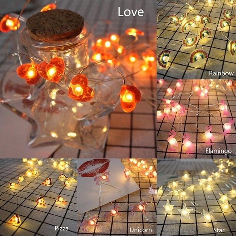 2m 20led luzes da corda de fadas flamingo abacaxi estrelas shapewedding festa decoração para casa iluminação aa bateria