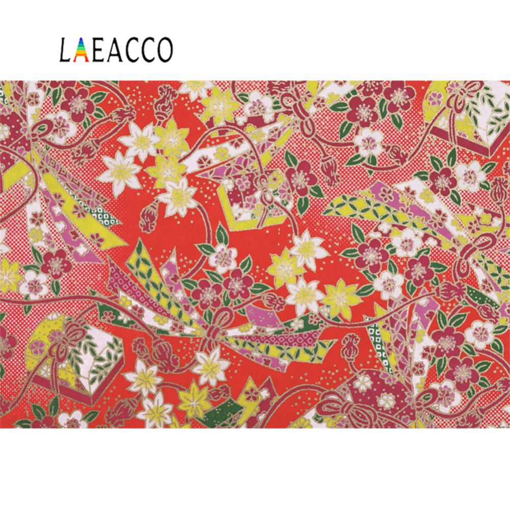 Laeacco Photography Backdrops Old Traditional Flower Pattern Red