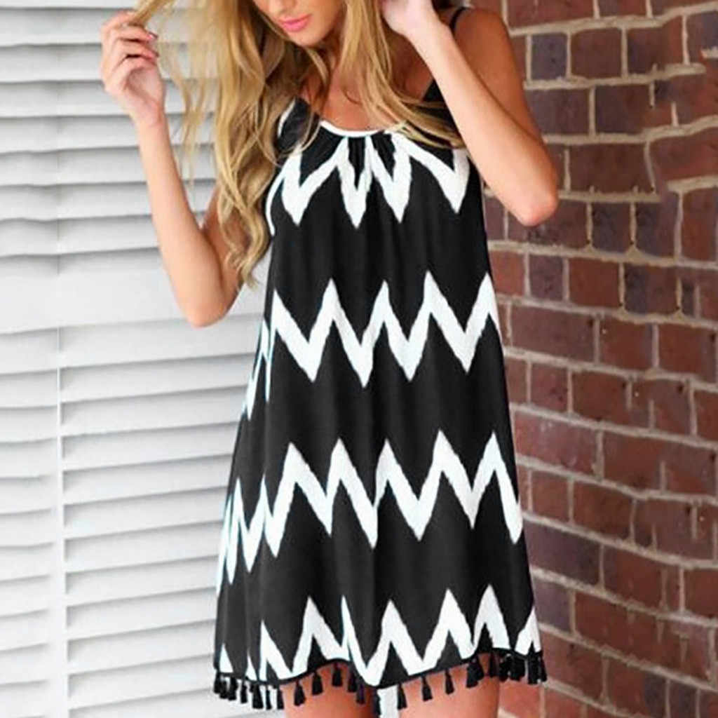 Summer sling stripe black and white large size dress Women Summer Sexy wave pattern tassel strap Sleeveless Holiday Dress