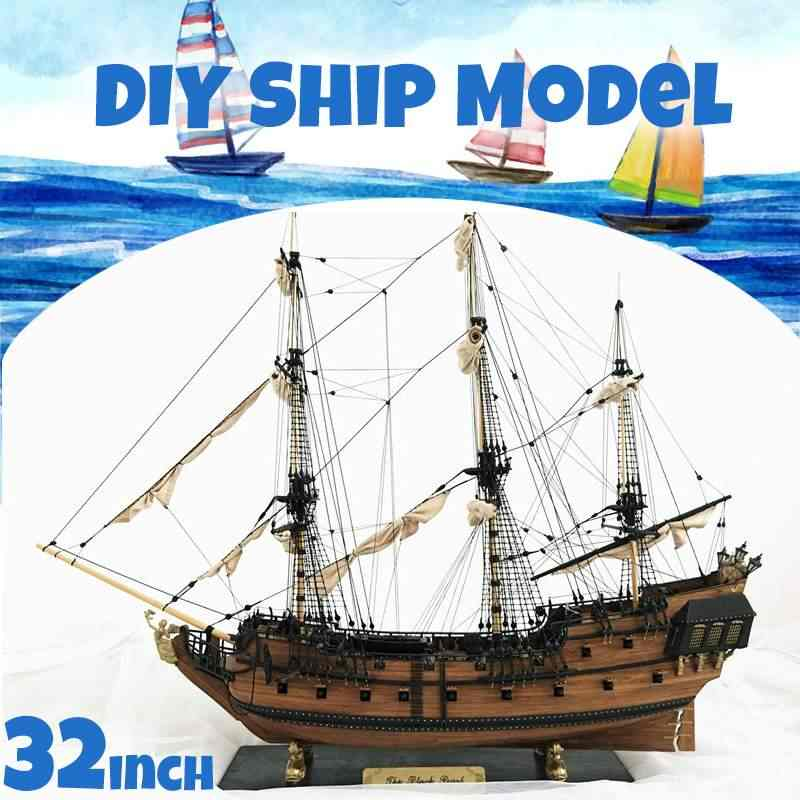 32 inch DIY Wooden Ship Model Building Kits Assembly Toy Decoration Gift for Children Adult Boy Girl