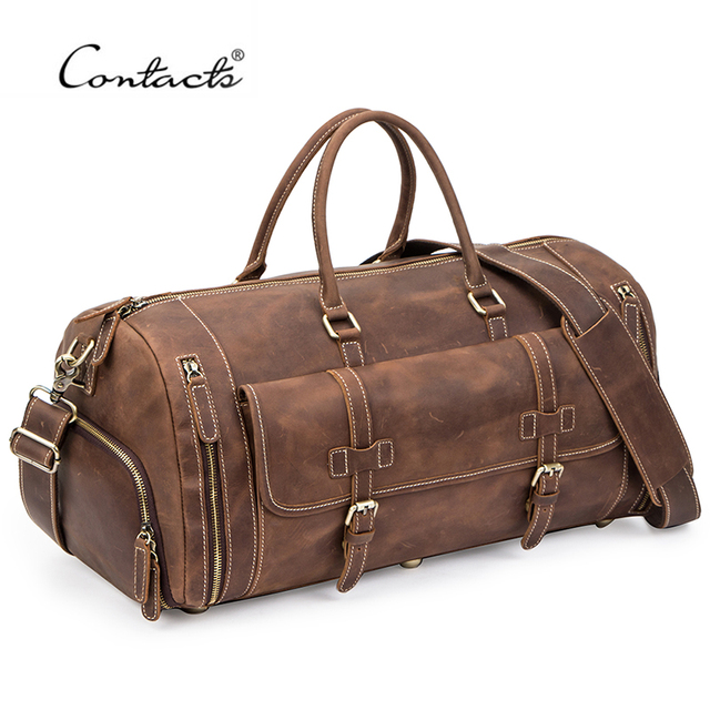 CONTACT'S Travel Men Handbags Crazy Horse Leather Duffle Luggage Bag Large Capacity Vintage Suitcase Tote Bag Male Shouder Bags 1