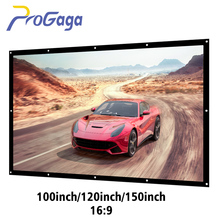 ProGaga Projector Screen 150 120 100 Inch White Canvas Projection Screen Foldable 16:9 Portable Wall Mounted Porjector Curtain