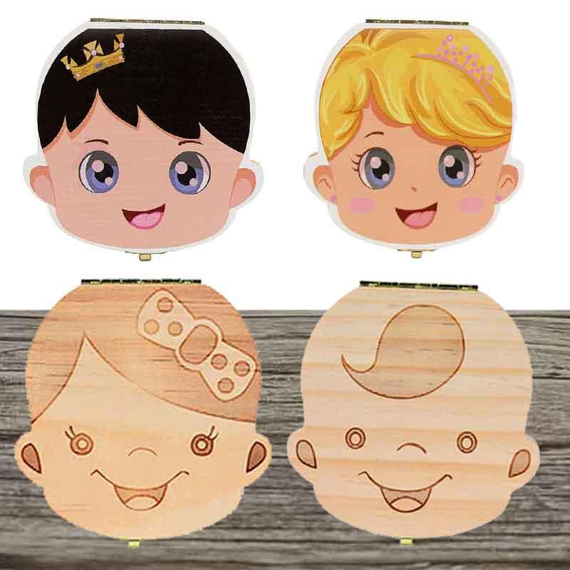 Caixa de dentes caídos portugal/holandês/inglês/espanhol/russo/francês germantech bebê menino menina caso de madeira salvar leite dentes titular